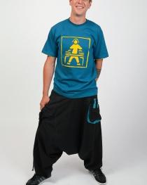 T-shirt Dj Fond Bleu design Jaune