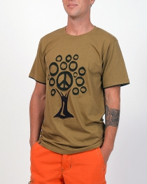 T-shirt Tree Peace fond Beige design brun