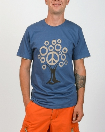 T-shirt Tree Peace fond Bleu design beige