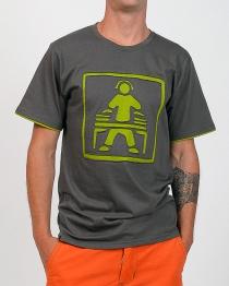 T-shirt Dj fond gris design vert anis