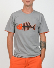 T-shirt Poisson Darwin Fond Gris design Orange & Bleu