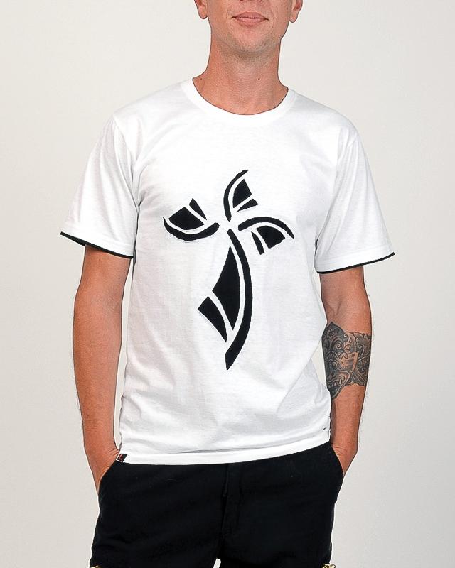 T-shirt hermine fond bland design noir