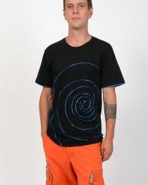 T-shirt Spirale Tribe Fond Noir design bleu