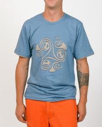 T-shirt Triskel Fond Bleu design beige