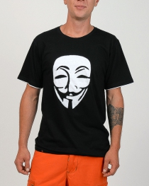 T-shirt Anonymous Fond Noir design Blanc
