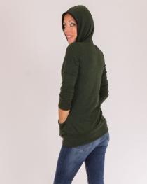 Sweat mi-long capuche Stripes Vert