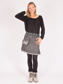 Jupe réversible Smart Wool Seigaiha mi-longue