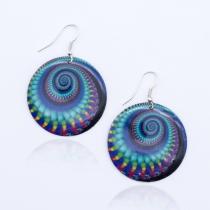 Boucle d'oreille Infra spirale bleu