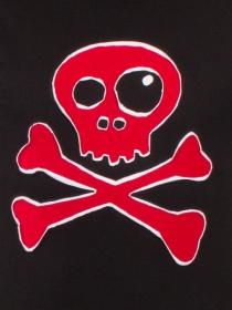 Tee shirt Skull Bones Fond Noir design Bordeaux et blanc