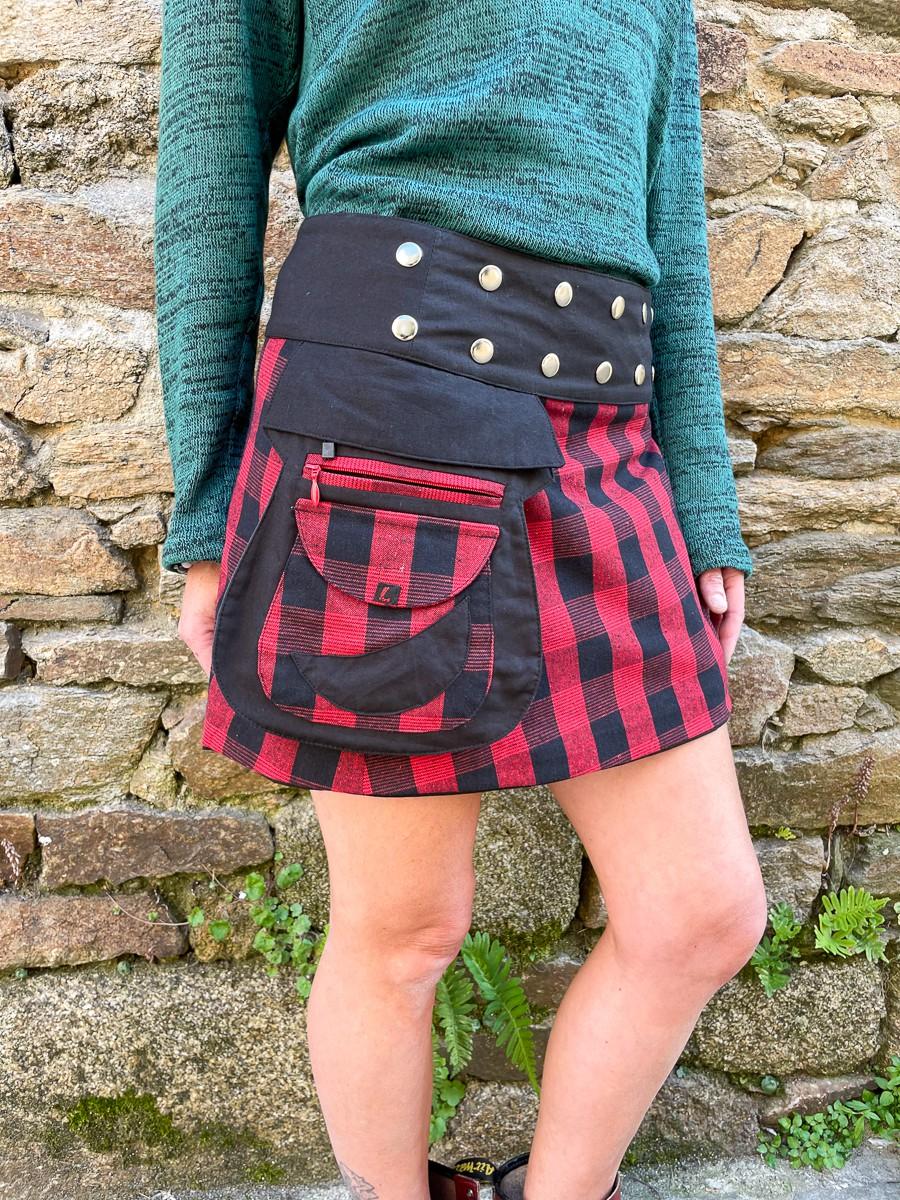 Jupe réversible Campbell Scotland Tartan Rouge courte