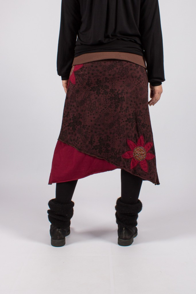 "Jupe ""hippie chic\"" Rouge bordeaux"