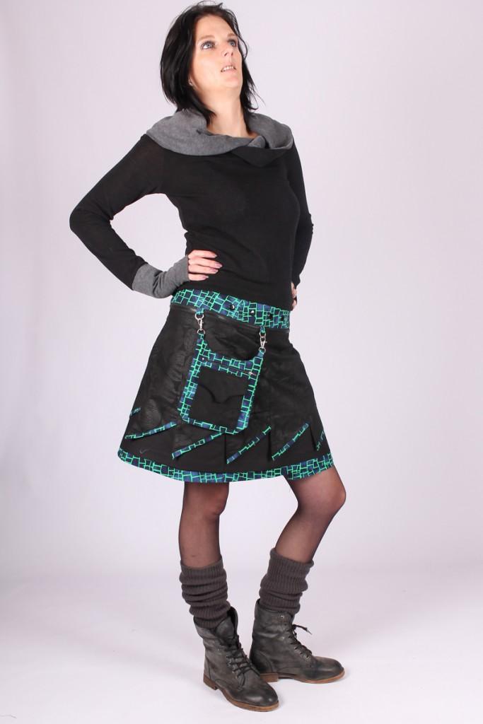 Jupe réversible longue « Lilalilou design » Verte et Noire