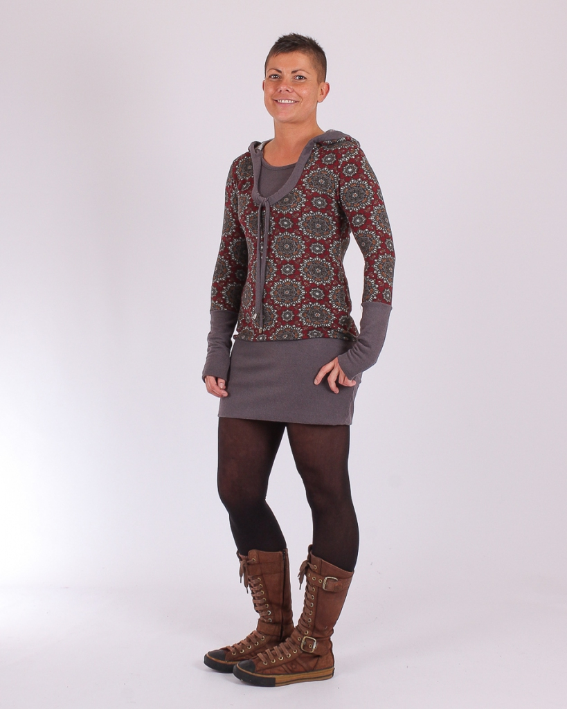 Robe Cocoon Indian style bordeau