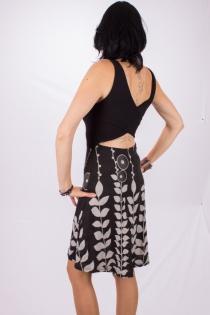 Robe Paquita courte Digital flower Noire