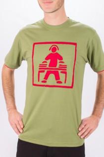 T-shirt Dj Fond vert design Bordeaux