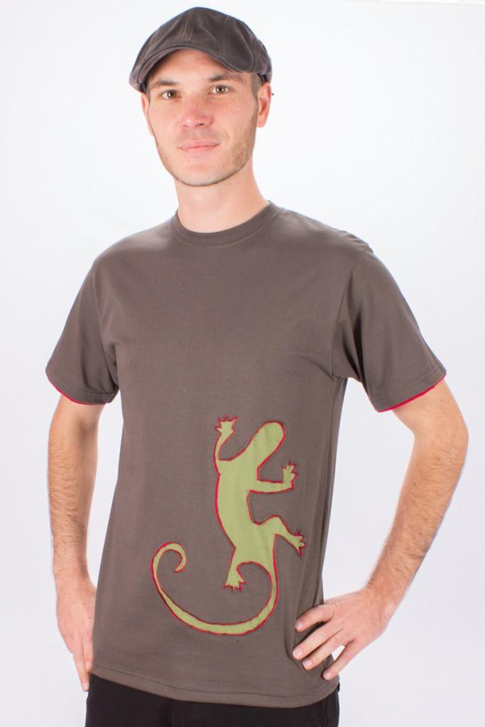 T-shirt Gecko Climbing Fond Brun design Vert & Bordeaux