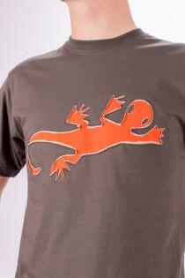 T-shirt Lazy Gecko Fond Brun design Orange & Beige