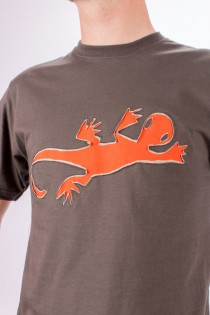 T-shirt Lazy Gecko Fond Brun design Orange & Beige