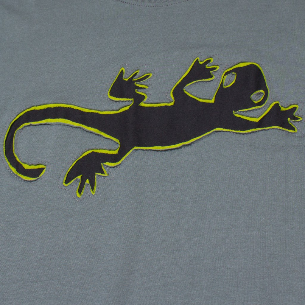 T-shirt Lazy Gecko Fond Gris design Noir & Lime