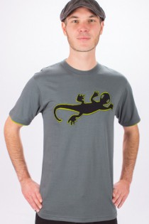 T-shirt Lazy Gecko Fond Gris design Noir & Lime
