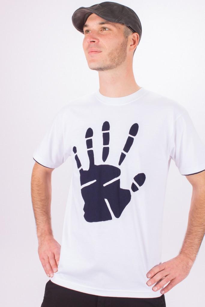 T-shirt Peace Hand Fond Blanc design Marine