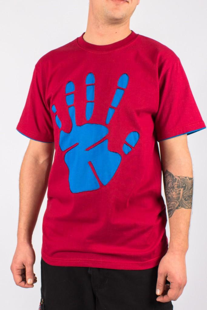 T-shirt Peace Hand Fond Bordeaux design Bleu