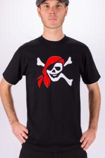 T-shirt Pirate Fond Noir design Blanc & Bordeaux