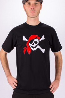 T-shirt Pirate Fond Noir design Blanc & Bordeaux