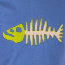 T-shirt Poisson Darwin Fond Bleu design beige & vert