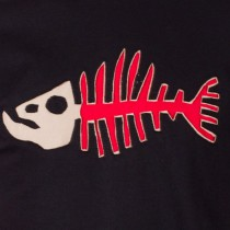 T-shirt Poisson Darwin Fond Noir design Rouge & Beige