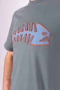 T-shirt Poisson Fond Bleu minéral design Bleu & Orange