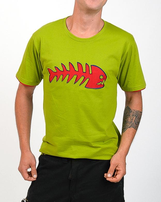 Tee shirt Poisson Fond Vert design Rouge