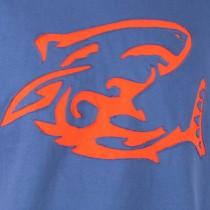 T-shirt Shark Attack Fond Bleu Petrol design Orange