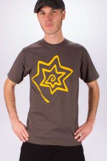 T-shirt Spirale Etoile Fond Gris design Jaune