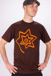 T-shirt Spirale Etoile Fond Marron design Orange