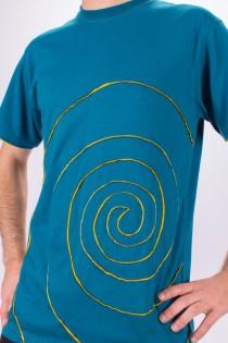 T-shirt Spirale Tribe Fond Bleu design Jaune Safran