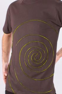 T-shirt Spirale Tribe Fond Brun foncé design Lime