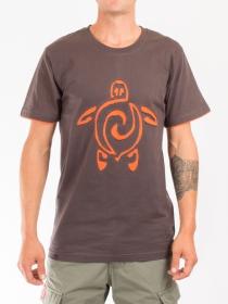 T-shirt Tortue Fond Brun design Orange