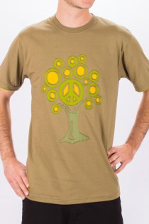 T-shirt Tree Of Life Fond Beige design Vert Olive, Lime & Brun