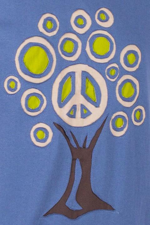 T-shirt Tree Of Life Fond Bleu Petrol design Lime, Beige & Brun