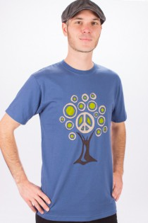 T-shirt Tree Of Life Fond Bleu Petrol design Lime, Beige & Brun