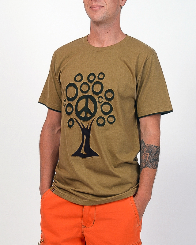 Tee shirt Tree Peace fond Beige design brun