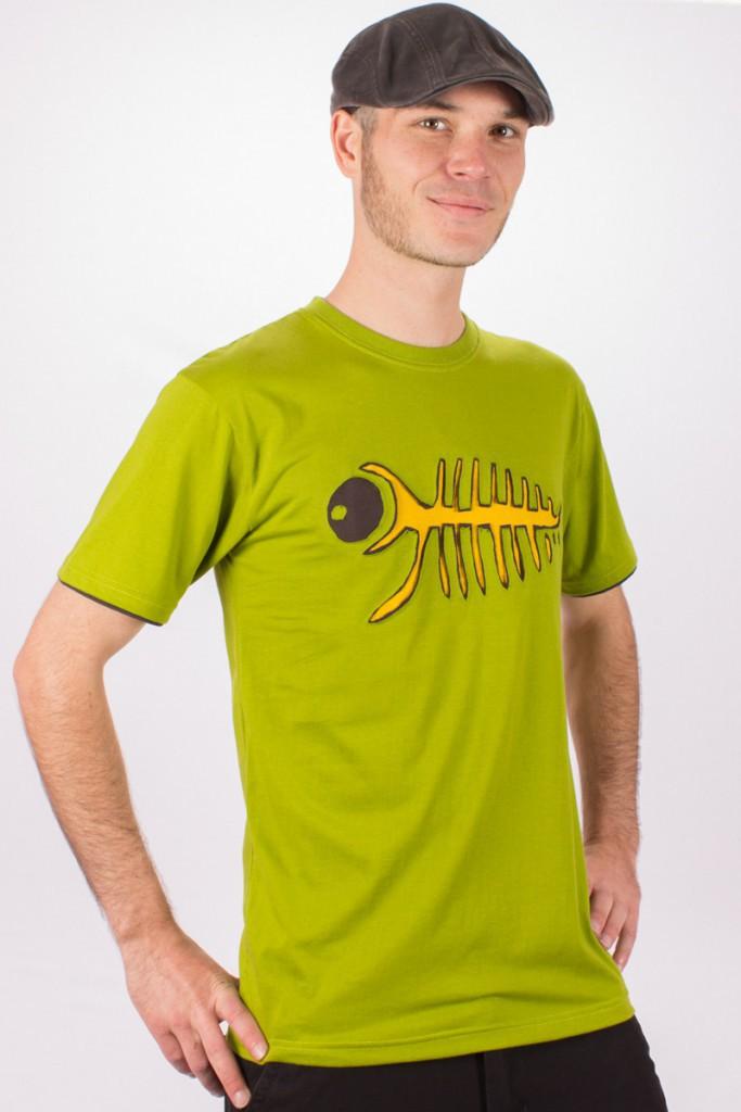 T-shirt Trippy Fish Fond vert Lime design Jaune & Brun